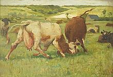 Julien DUPRE (1851-1910)  Vaches dans un pré  Huile sur panneau, signée en bas à droite.  24 x 34 cm