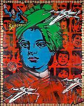 ALBEN (né en 1973)  Sous-tention-Superman  Technique mixte et collage sur toile signée en bas à droite.  113,5 x 90 cm