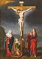 école ANVERSOISE du début du  XVII° siècle, entourage de Frans  FRANCKEN  La Crucifixion  Cuivre  31 x 23,5 cm  (Restaurations)