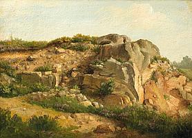 André GIROUX (1801-1879), attribué à Ecole française du XIX° siècle, vers 1840. Etude de paysage au rocher Huile sur carton 21 x 29,5 cm (Au revers étiquette de la galerie Kate de Rothschild, Londres)