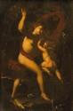 Ecole ITALIENNE du XVII° siècle  Vénus fessant l'amour  Panneau  60 x 38,5 cm  (accidents)