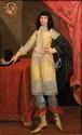 Ecole de l'Italie du NORD du XVII° siècle  Portrait d'un jeune homme en habit jaune  Toile  Porte en haut à gauche des armoiries, famille Monti, originaire de Venise.  194 x 121 cm