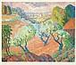 Serge MENDJISKY (né en 1929)  Paysage de Provence   Lithographie, signée en bas à droite, dédicacée et justifiée HC   38 x 44 cm
