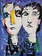Bernard LORJOU (1908-1986)   Les deux visages  Acrylique sur papier marouflé sur toile, signée en bas à droite  75 x 56 cm