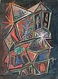 Jean PIAUBERT (1900-2002)   L'évasion  Technique mixte et graviers sur panneau, signé, daté 1988 et titré au dos   35 x 65 cm