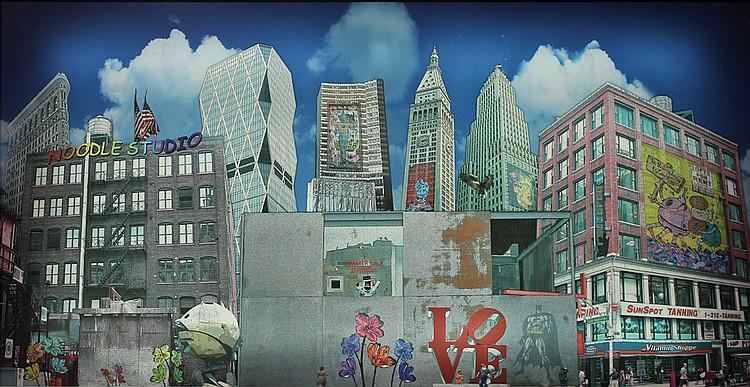 EL PRADINO (1985)  New-York   Photo couleur sur caisson lumineux, signée au dos  68 x 128,5 cm
