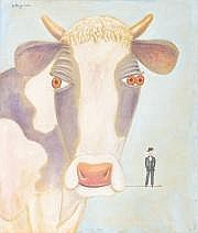 Benjamin LEVY COW WITH ANGEL, 2006 Huile sur toile