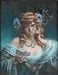 Delphin ENJOLRAS (1857 - 1945)Femme en bleu lisant