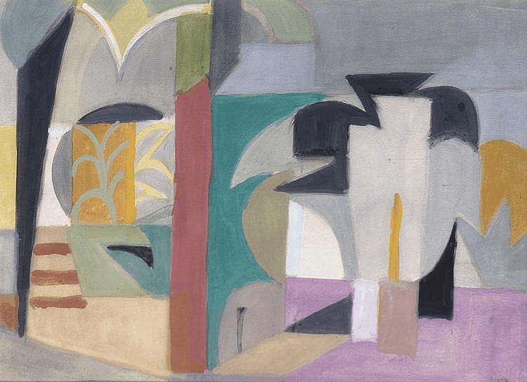 André LHOTE (1885-1962) Paysage cubiste Gouache, signée en bas à droite 27 x 37,5 cm Un certificat de Madame Suzanne BERMANN sera remis à l'acquéreur.