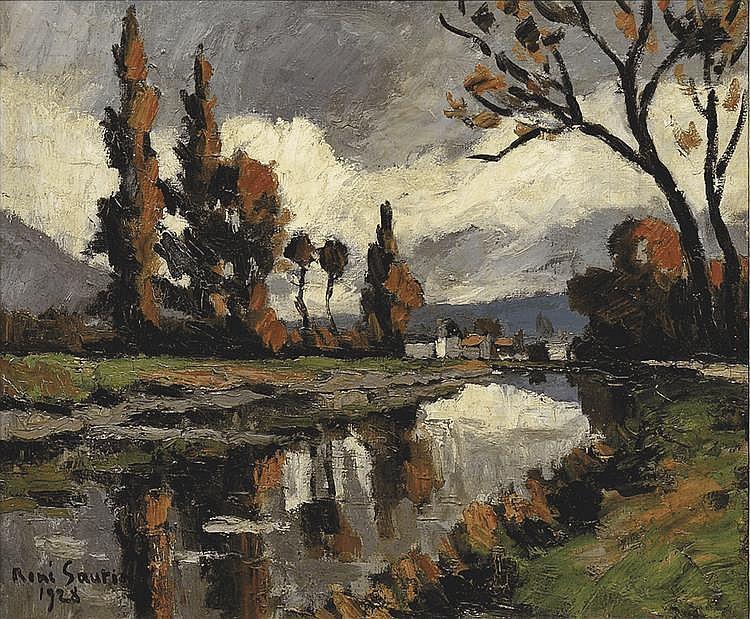 René SAUTIN (1881-1968) Paysage Huile sur toile Signée en bas à gauche et datée, 1928 54 x 64 cm