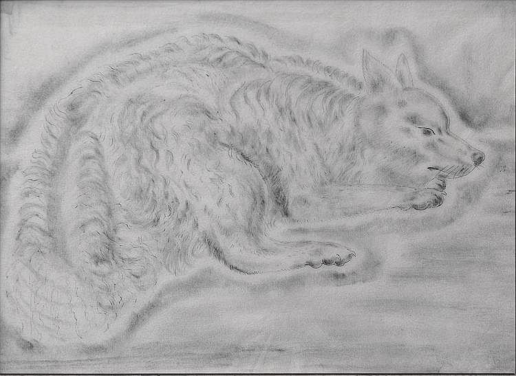 Léonard Tsuhugaru FOUJITA (1886-1968) Chien couché, vers 1930 Encre de Chine sur papier 37 x 28 cm Un certificat d'authencité de Madame Buisson sera remis à l'adjudicataire.
