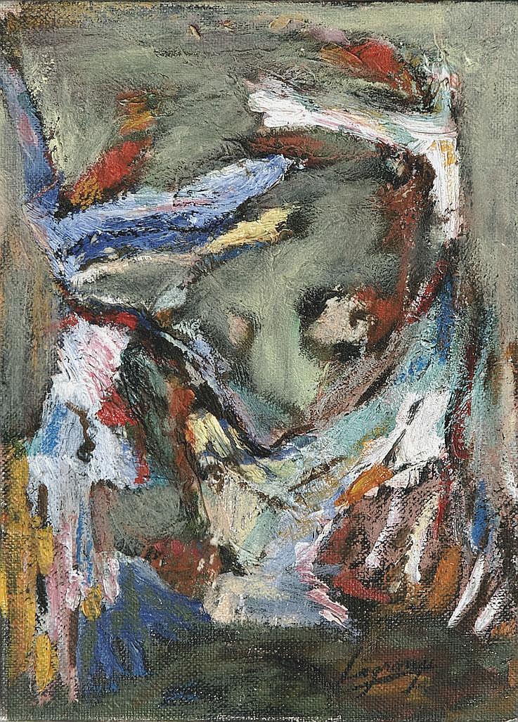 Maria Ester LAGRANGE (née en 1958) Les danseurs d'Orient Série de la Divine Comédie, 1988-1995 Technique mixte sur toile signée en bas à droite 22 x 16 cm Un certificat d'authenticité de la main de l'artiste sera délivré à l'adjudicataire