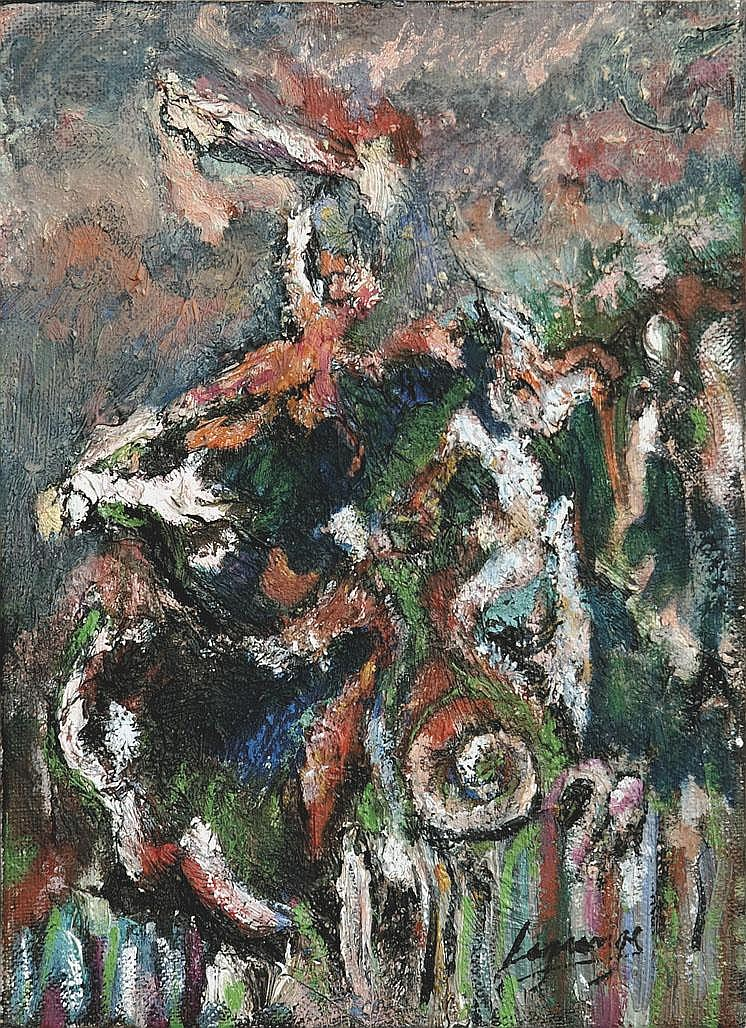 Maria Ester LAGRANGE (née en 1958) L'arrivée de la victoire Série de la Divine Comédie, 1988-1995 Technique mixte sur toile signée en bas à droite 22 x 16 cm Un certificat d'authenticité de la main de l'artiste sera délivré à l'adjudicataire