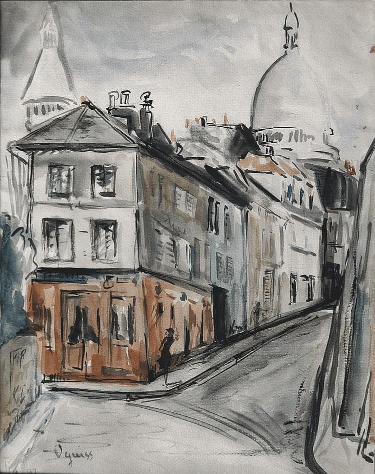 Takanori OGUISS (1901-1986) Rue de Norvins à Montmartre Aquarelle sur papier signé en bas à gauche 34 x 25 cm