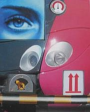 PETER KLASEN (né en 1935) Regard bleu - 2 fleches rouges, 2010 Acrylique sur toile signée, titrée et datée au dos 73 x 60 cm