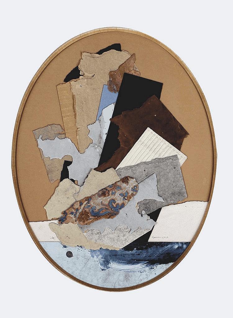 Alain LE YAOUANC (1940) Composition, 1980 Collage sur carton, signé en bas à gauche et daté en bas à droite 39 x 30 cm