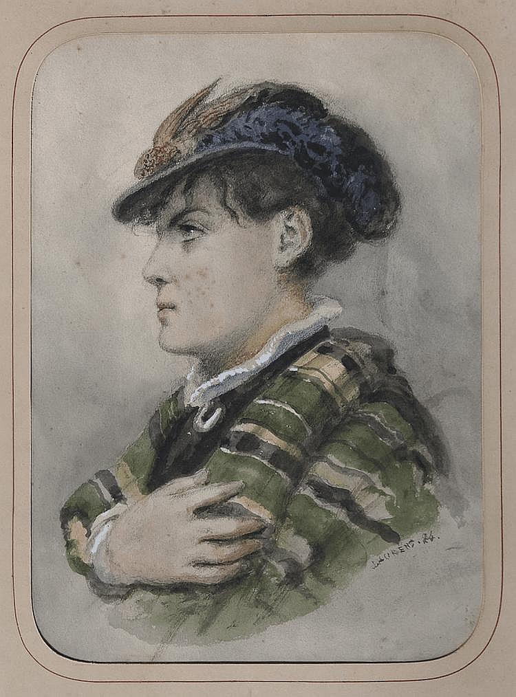 Jean-Paul LAURENS (1838-1821) Portrait femme Fusain et rehauts d'aquarelle