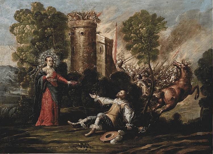 École ESPAGNOLE vers 1640 Apparition de la Vierge à un chevalier pendant une bataille Toile 68 x 94 cm