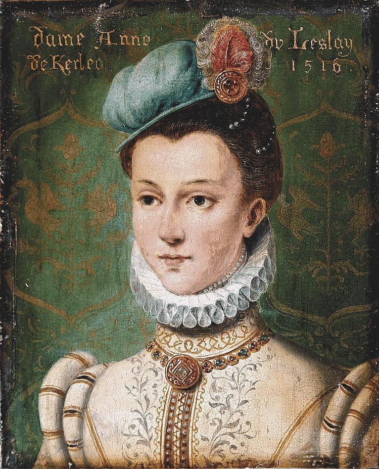 École FRANCAISE du XIX° siècle Portrait d'Anne du Freslay de Kerleo Panneau. Titré en haut dame Anne du Freslay / de Kerleo 1516 25 x 20 cm
