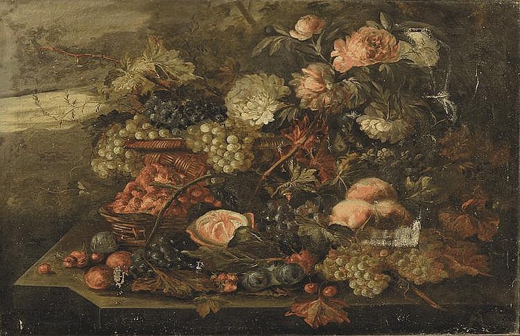 École FRANCAISE du XX° siècle Nature morte aux fleurs et aux fruits Paire de toiles 88 x 115 cm