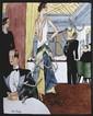 Camille FAURE (1874-1956) La belle époque Plaque en émail de Limoges signée en bas à gauche 25 x 20 cm