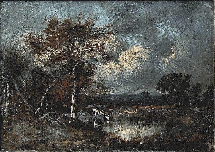 Jules DUPRE (Nantes 1811 - L'Isle Adam 1889) Vache s'abreuvant à la rivière Panneau 11 x 22 cm Signé en bas à droite J. Dupré Porte une ancienne étiquette au dos