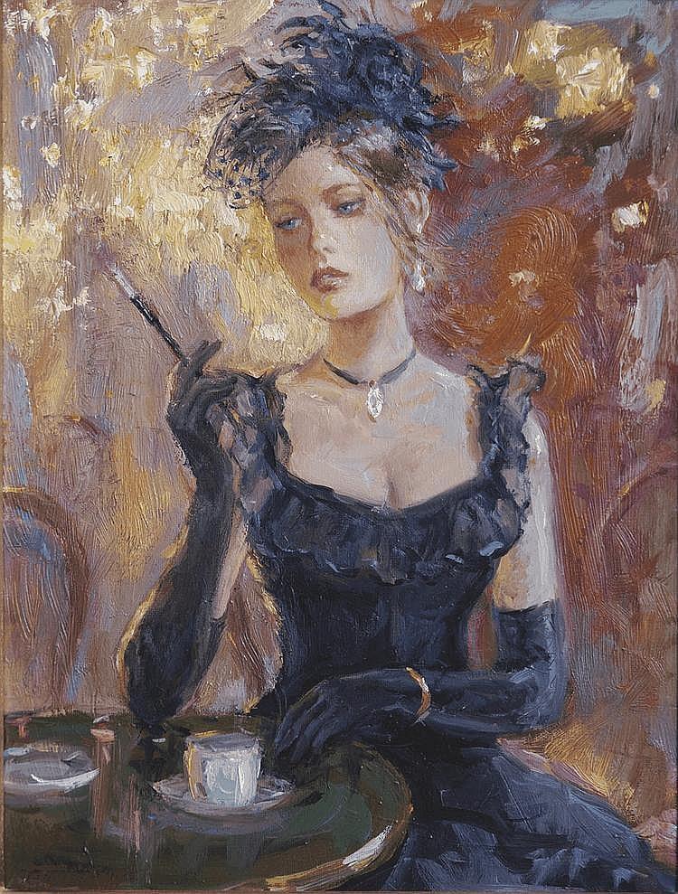 Boris TCHOUBANOFF (né en 1946) Dans un café parisien Huile sur toile signée en bas à gauche, contresignée et titrée au dos 35 x 24 cm