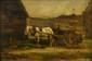 ecole HOLLANdAISe du XIX° siècle  Le cheval gris  Panneau  24 x 35 cm  Porte une signature en bas à droite A.Mauve