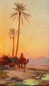 ecole Orientaliste du début du XX° siècle  Coucher de soleil  Huile sur panneau  41 x 23 cm