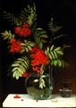 emma MULVAd (1838 - 1903)  Branche de groseillier dans un vase sur un entablement  Huile sur toile, signée et datée 1886  59 x 40 cm (Restaurations)