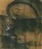 Auguste MAMBOUR (1896 - 1968)  Portrait africaniste   Fusain sur papier, signé en bas à gauche  65 x 54 cm