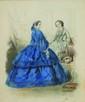 Hyppolyte-Louis-Emile PAUQUET (né en 1797), Deux élégantes dans un intérieur; l'une en robe bleue, l'autre grise. Mine de plomb et aquarelle. Signée et datée 18 Mai 1858 en bas à droite 22,5 x 8,5cm