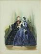 Hippolyte- Louis-Emile PAUQUET (né en 1797) Deux élégantes dans un interieur, l'une en robe grise, l'autre en robe prune Mine de plomb et aquarelle Numérotée 873 en bas a droite, 101 en bas au centre et annotée