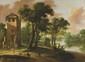 Lucas ACHTSCHELLINCK (1626 - 1699), attribué à Berger et cavalier près d'une tour dans un paysage fluvial Toile 83 x 113,5 cm