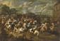 Marzio MASTURZO (Actif à Naples dans la seconde moitié du XVII° siècle) Bataille de cavaliers Toile 83 x 122 cm (accidents)