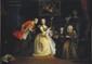 École FRANÇAISE du XIX° siècle Scène galante autour du métier à tisser Huile sur toile 64 x 88 cm