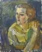 Sergej Alexandrow MAKO (1885-1953) Portrait d'une jeune femme Huile sur toile, signée en bas à gauche 73 x 60 cm