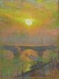 Emile CLAUS (1849-1924) Londres, coucher de soleil sur la Tamise Pastel, signé et situé en bas à droite 24 x 18 cm