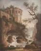 Hubert ROBERT (1733 - 1808), attribué à Paysage près de Tivoli avec la vue du temple de la Sibylle Toile 30,5 x 25 cm Tivoli, petite localité à l'est de Rome, est célèbre depuis l'Antiquité (Tibur). L'empereur Hadrien y posséde une somptueuse villa,