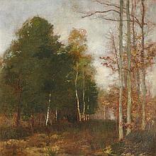 Henri GERVEX (1852-1929)  Clairière en automne  Toile, signée en bas à gauche  47,5 x 46,5  (Manques)