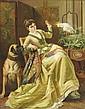 Edward Charles BARNES (1830-1882) Élégante avec son chien et son perroquet Huile sur toile signée en bas à droite. 91 x 72 cm Edward Charles Barnes expose de 1855 jusqu'à sa mort à la Royal Academy ainsi qu'au British Institute et s'est fait le
