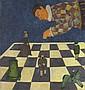 Andrey KARPOV  Echec  Huile sur toile, signée en bas à droite  71 x 70 cm