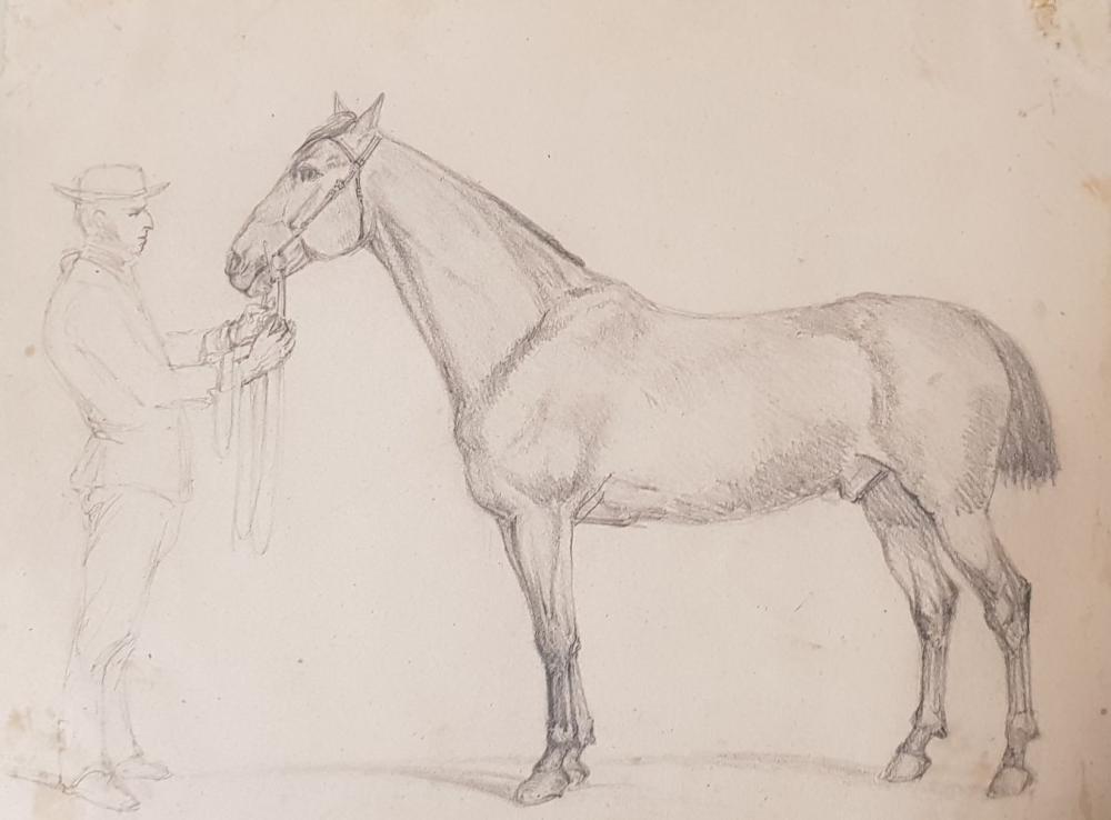 Sold Price: Henri REGNAULT (Paris 1843 - 1871) Un palefrenier et son cheval  Crayon noir 22,5 x 29 - July 4, 0120 2:00 PM CEST
