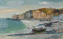 Lucien NEUQUELMAN (1909-1988) - Les falaises d'Etretat - Huile sur to