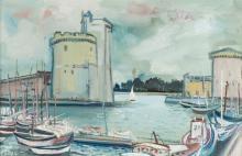 Lucien NEUQUELMAN (1909-1988) - Le port de La Rochelle - Huile sur to