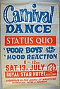 Rare early Status Quo music concert poster for the Royal Star Hotel, Maidstone, July 1968,