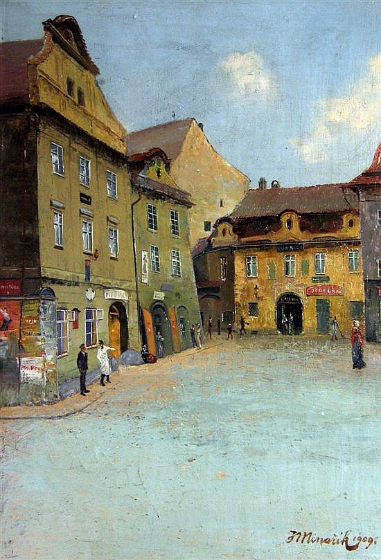 Jan Minarik, Czech,1862-1937, Old Prague, Oil on Board, Street Scene, signed,