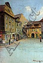 Jan Minarik, Czech,1862-1937, Old Prague, Oil on Board, Street Scene, signed,