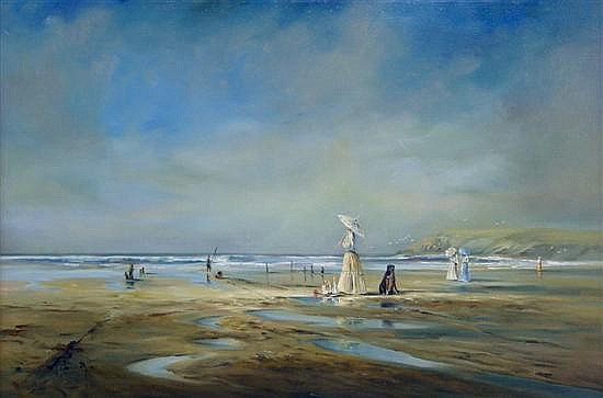 § Ted Dyer, born 1940, - landscape with figures on a beach,