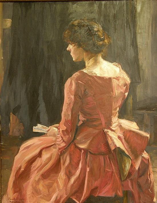 REVISED CATALOGUING AND EST Frank Frigyes, oil on canvas, portrait of a lady in red dress, signed and dated Munchen 1913, 43